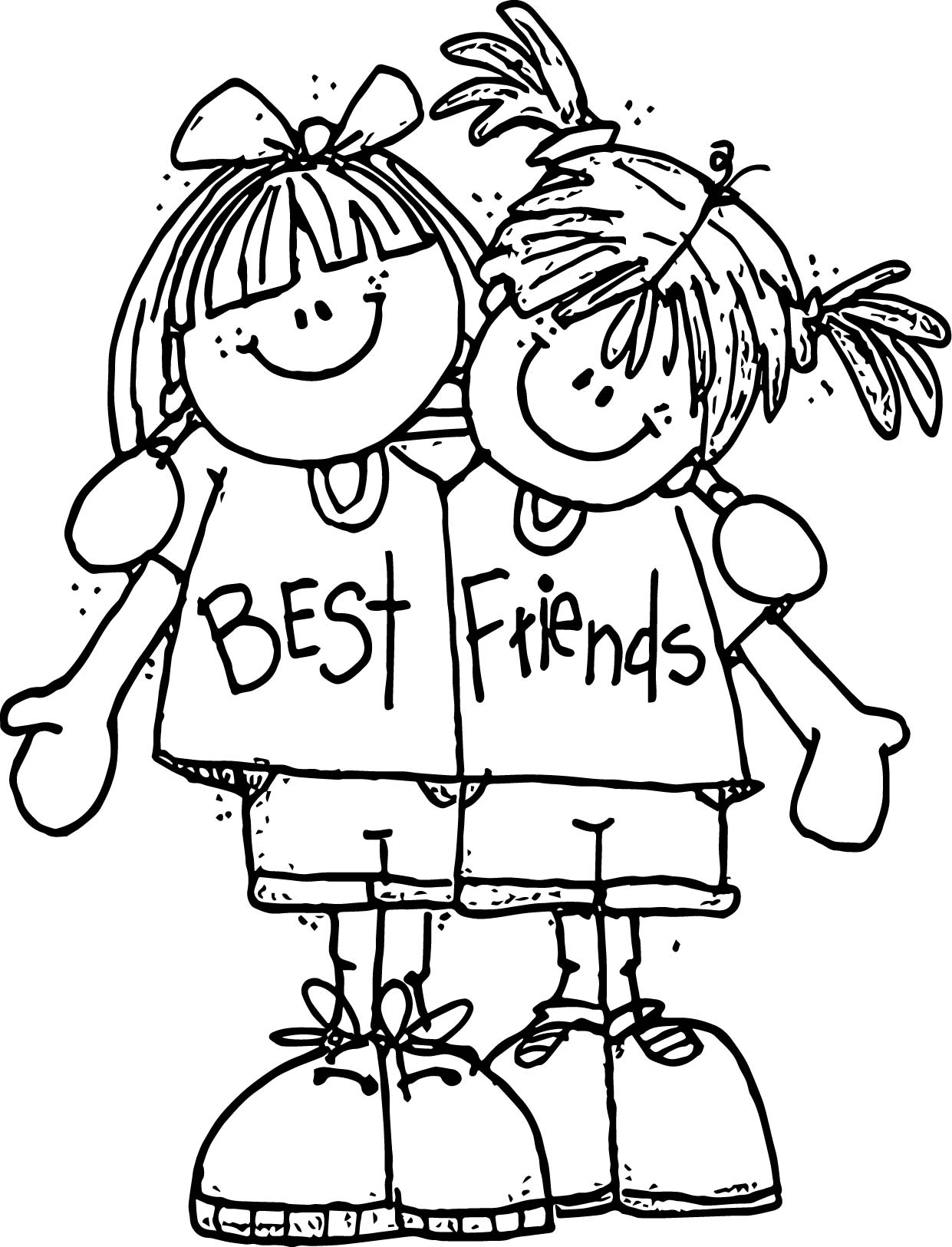 Best Friends Friendship Coloring Page