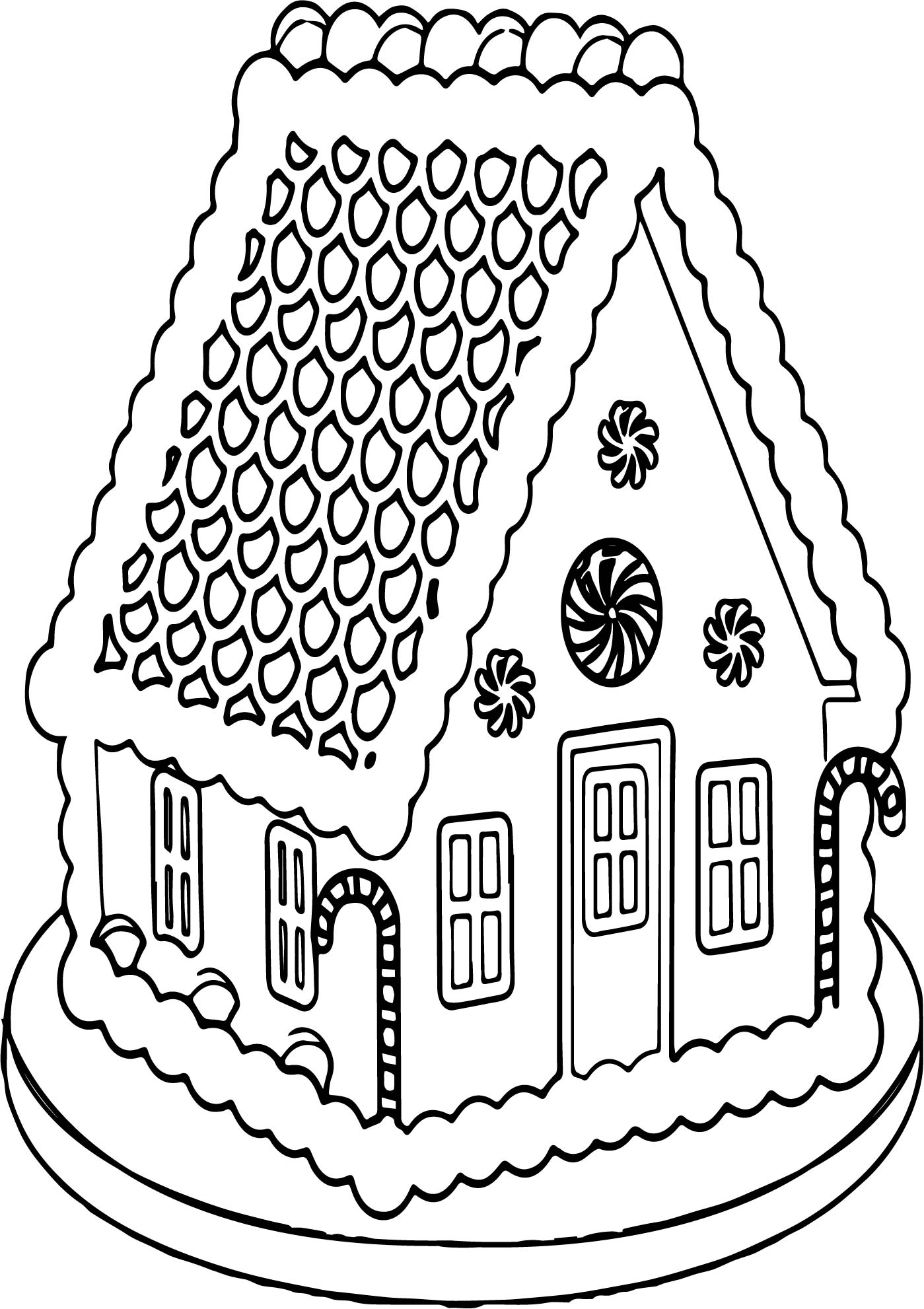Big Gingerbread House Coloring Page | Wecoloringpage.com
