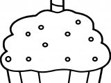 Birthday Cupcake Coloring Page