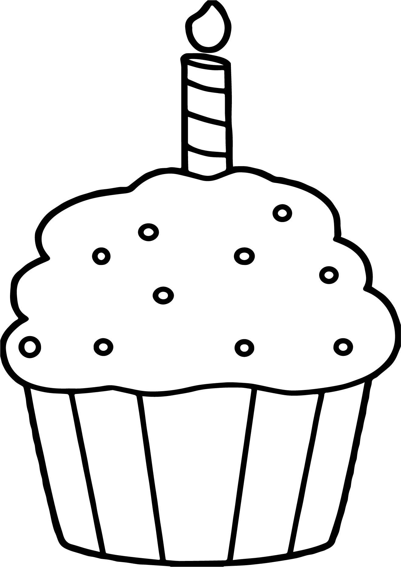coloring pages of cupcakes - birthday cupcake coloring page