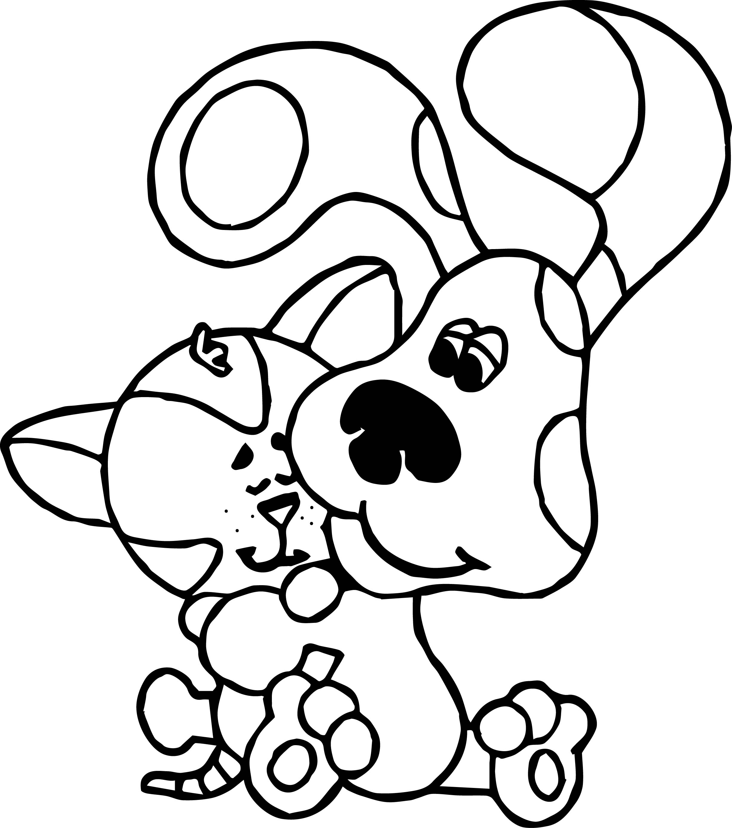 coloring pages of dogs and cats - blue s clues dog and cat coloring page