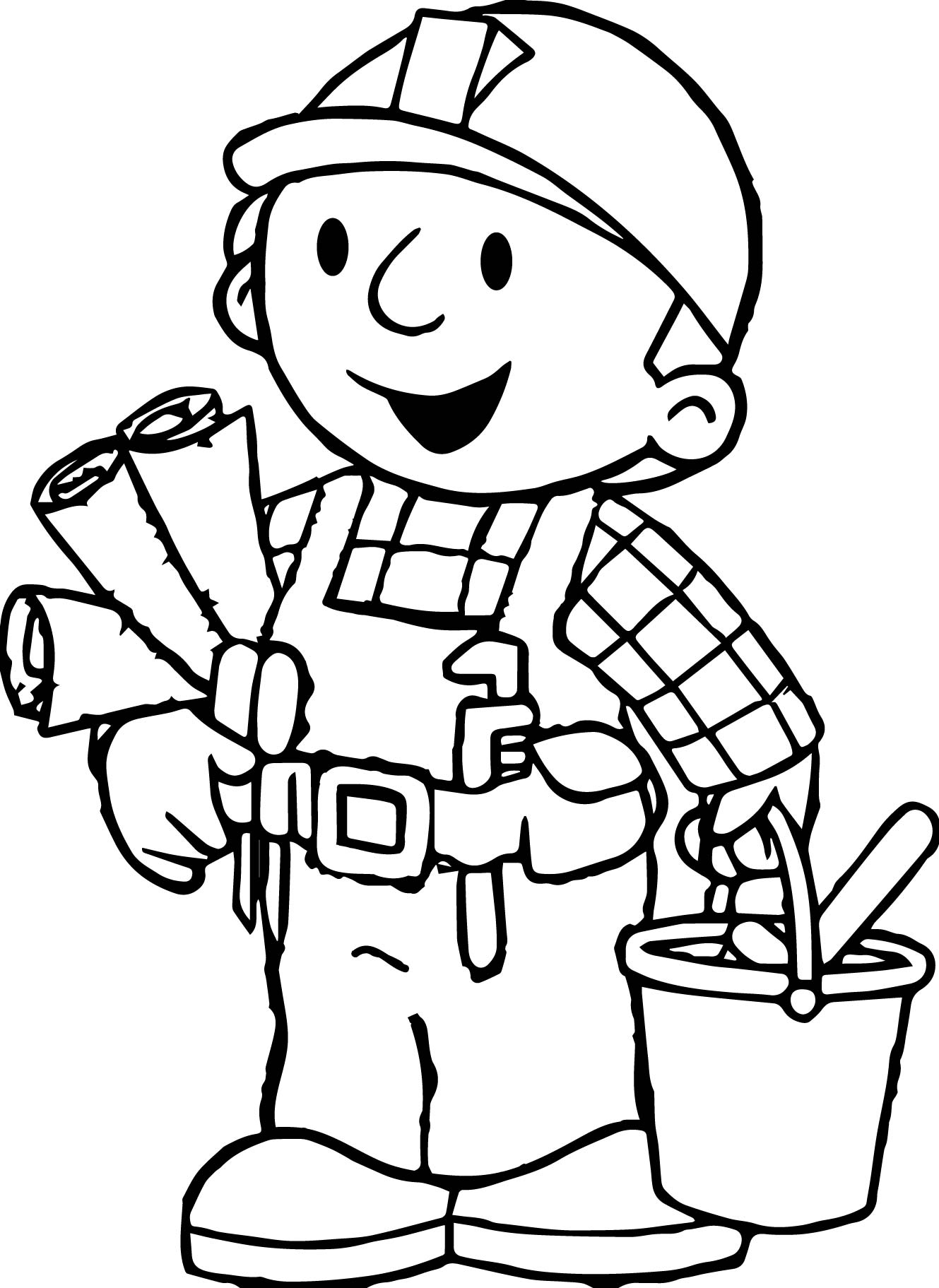 Excellent Bob The Builder Coloring Page With Johnny