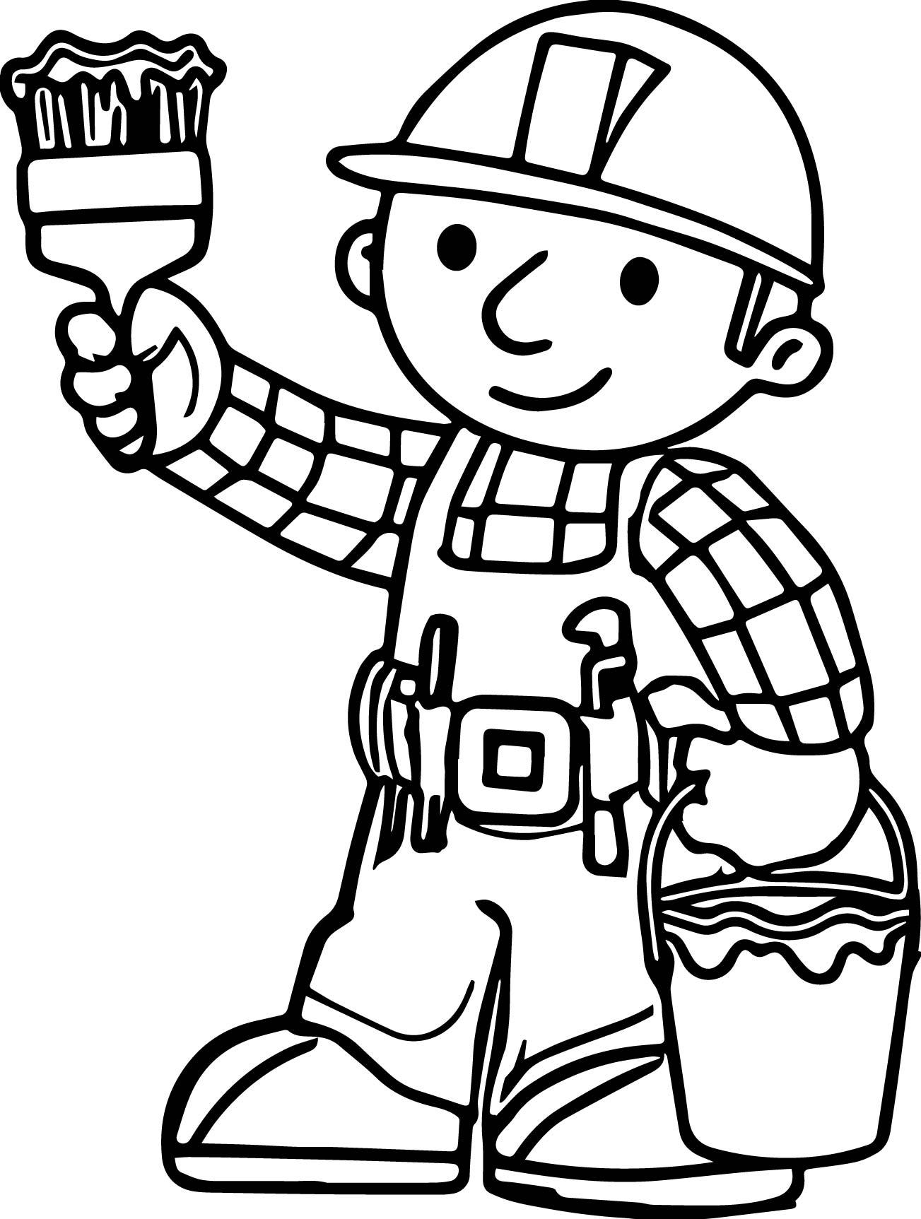 Bob The Builder Lets Paint Coloring Page