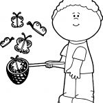 Boy Catching Butterflies Coloring Page