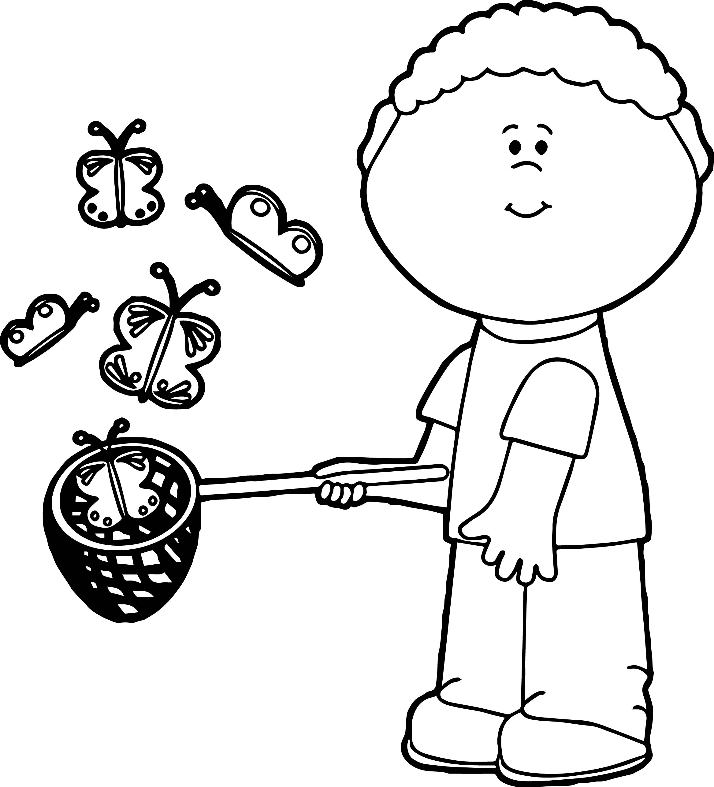 boy catching butterflies coloring page wecoloringpage