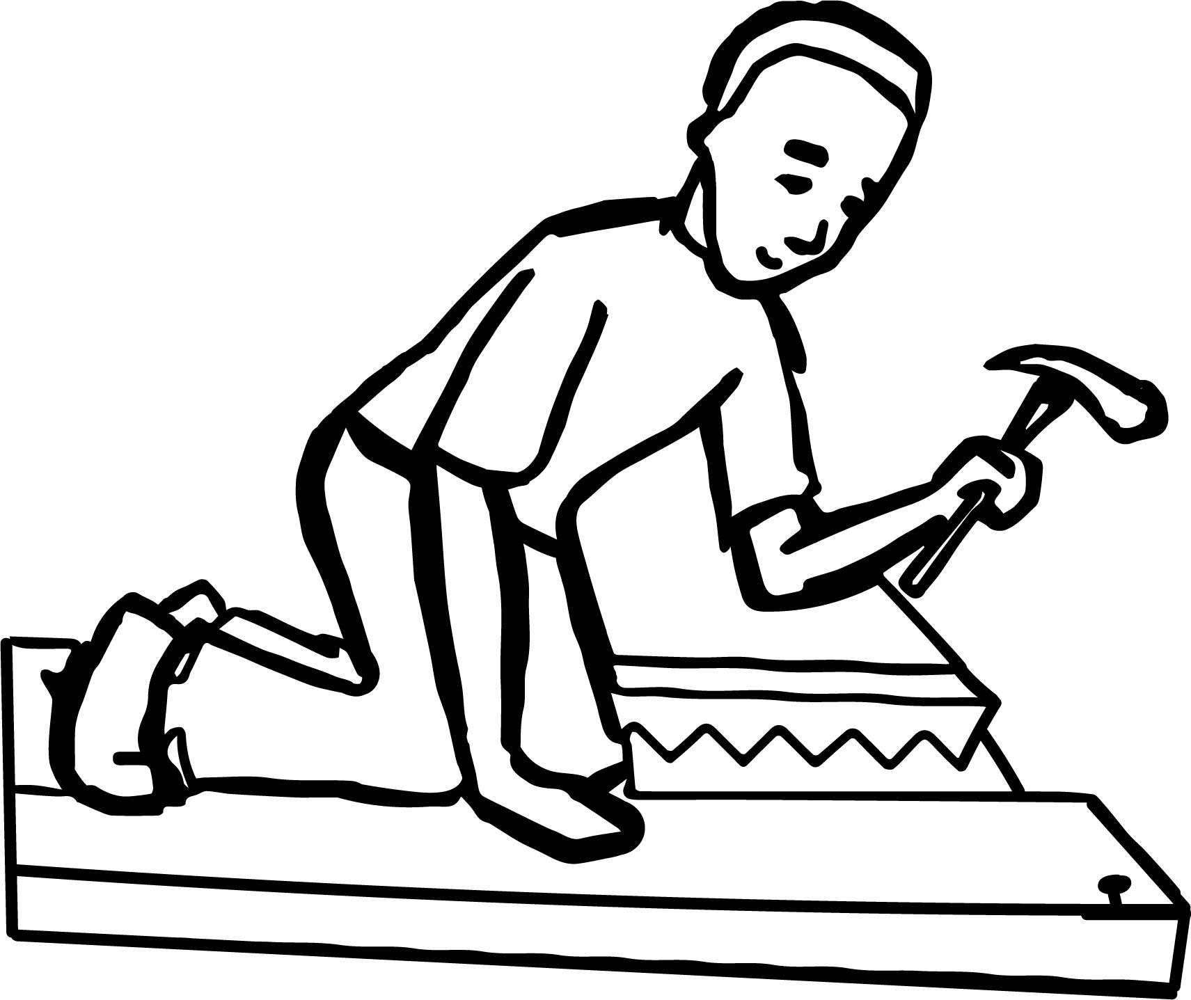 boy nail carpenter coloring page wecoloringpage