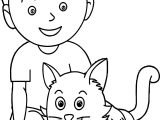 Boy With Cat Coloring Page