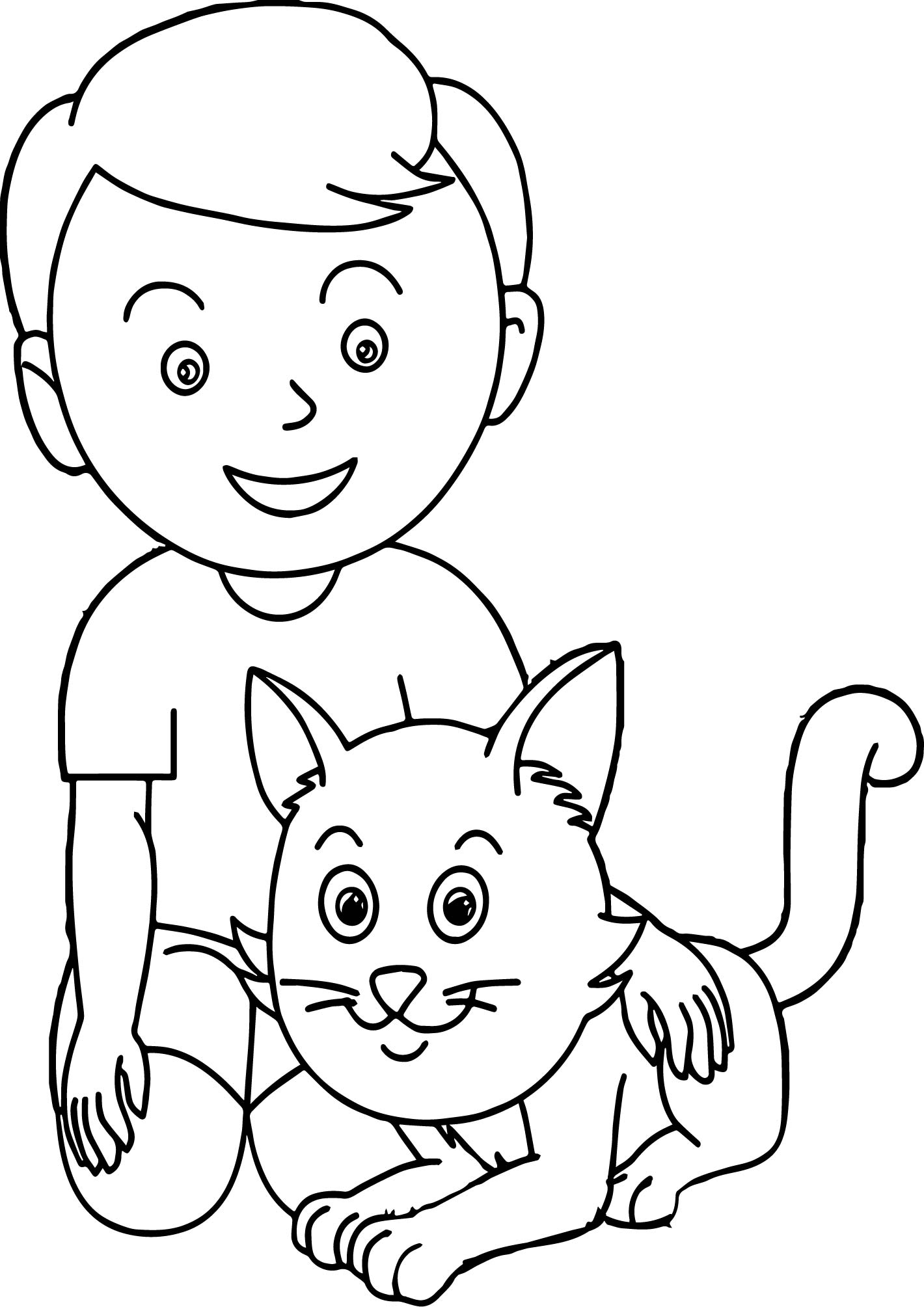 boy with cat coloring page wecoloringpage