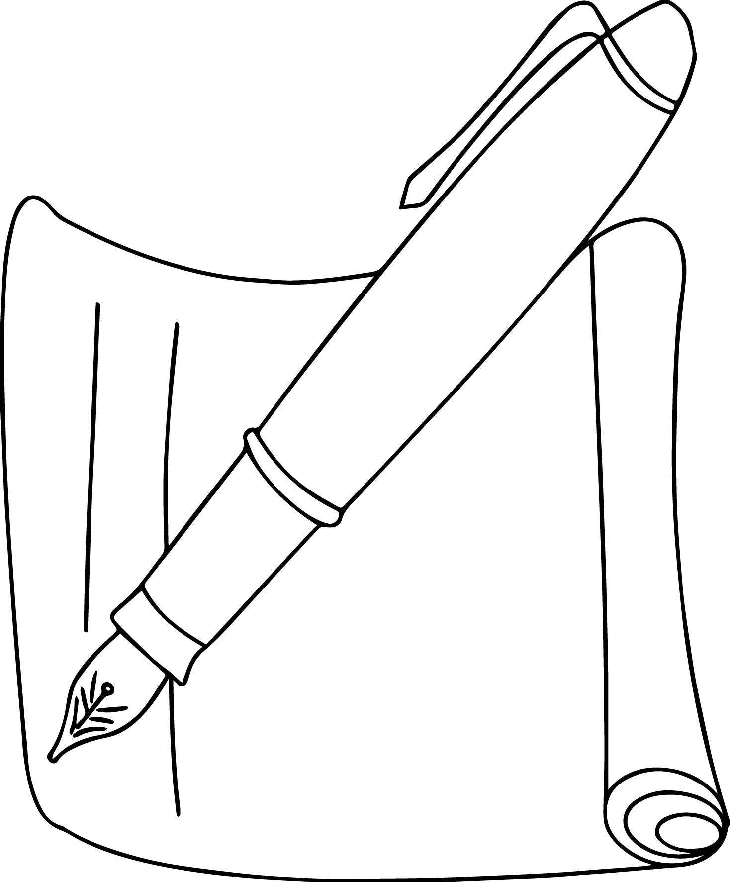 a simple lineart of pencil and a piece of paper coloring page