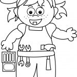 Carpenter Girl Coloring Page