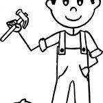 Carpenter Nails Boy Coloring Page