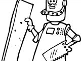 Carpenter Robot Coloring Page