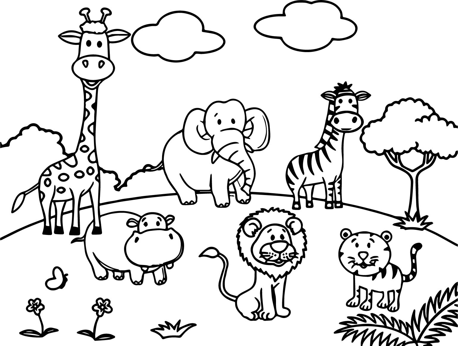 Cartoon animals all coloring page for Free zoo animal coloring pages