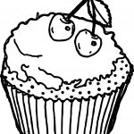 Cartoon Cupcakes Cherry Pictures Free Coloring Page