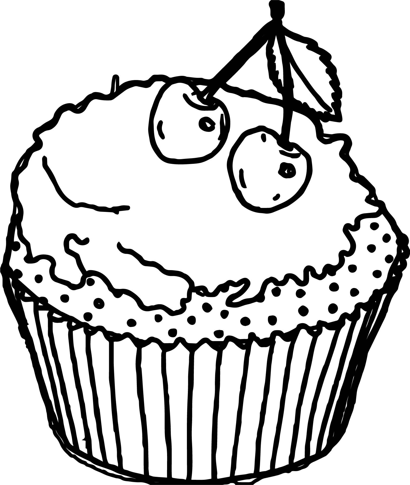 cupcake coloring pages free - cartoon cupcakes cherry pictures free coloring page