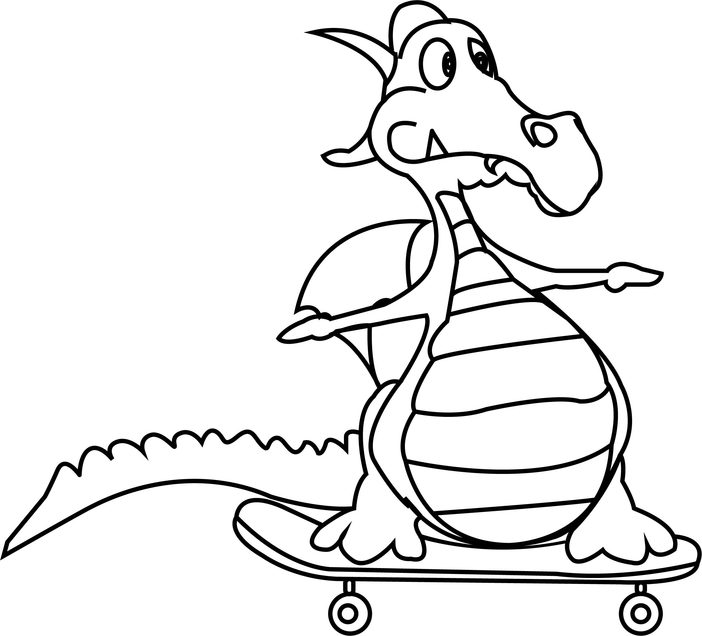 cartoon dragon very funny coloring page