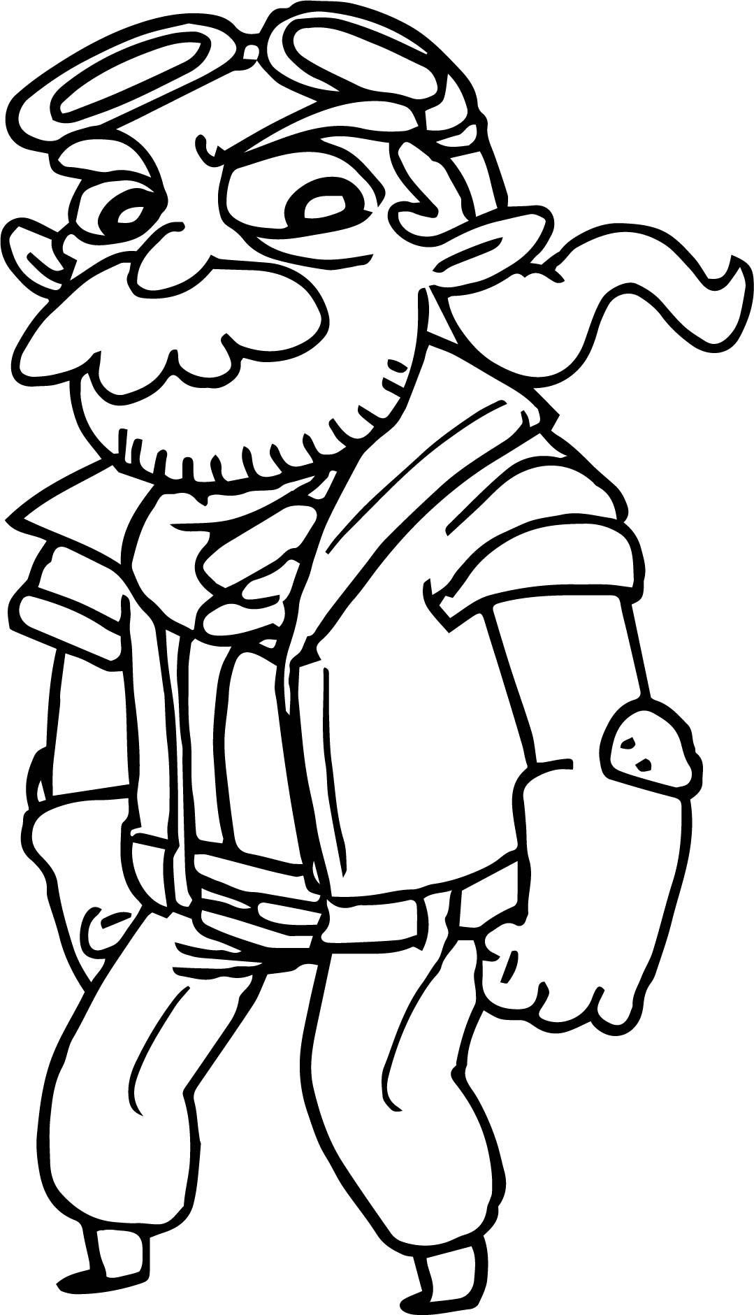Cartoon Fantasy Old Wise Mustache Beard Guy Character Coloring Page