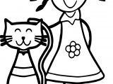 Cat And Girl Coloring Page