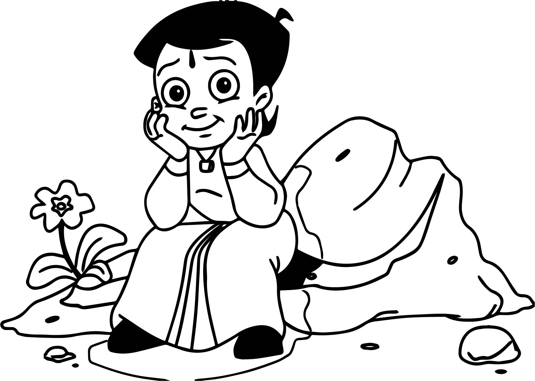 Chhota Bheem Staying Coloring Pages