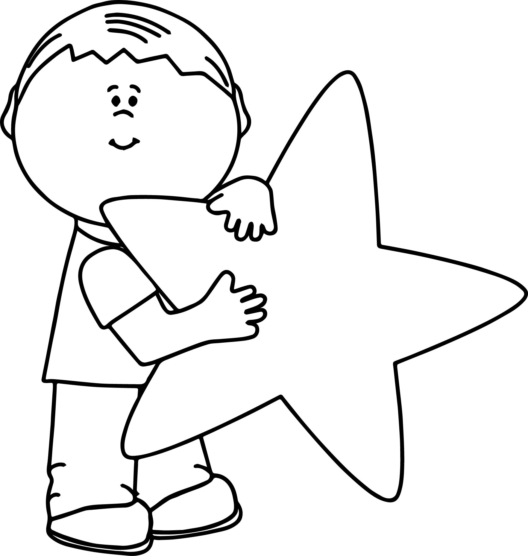 child and happy star coloring page wecoloringpage