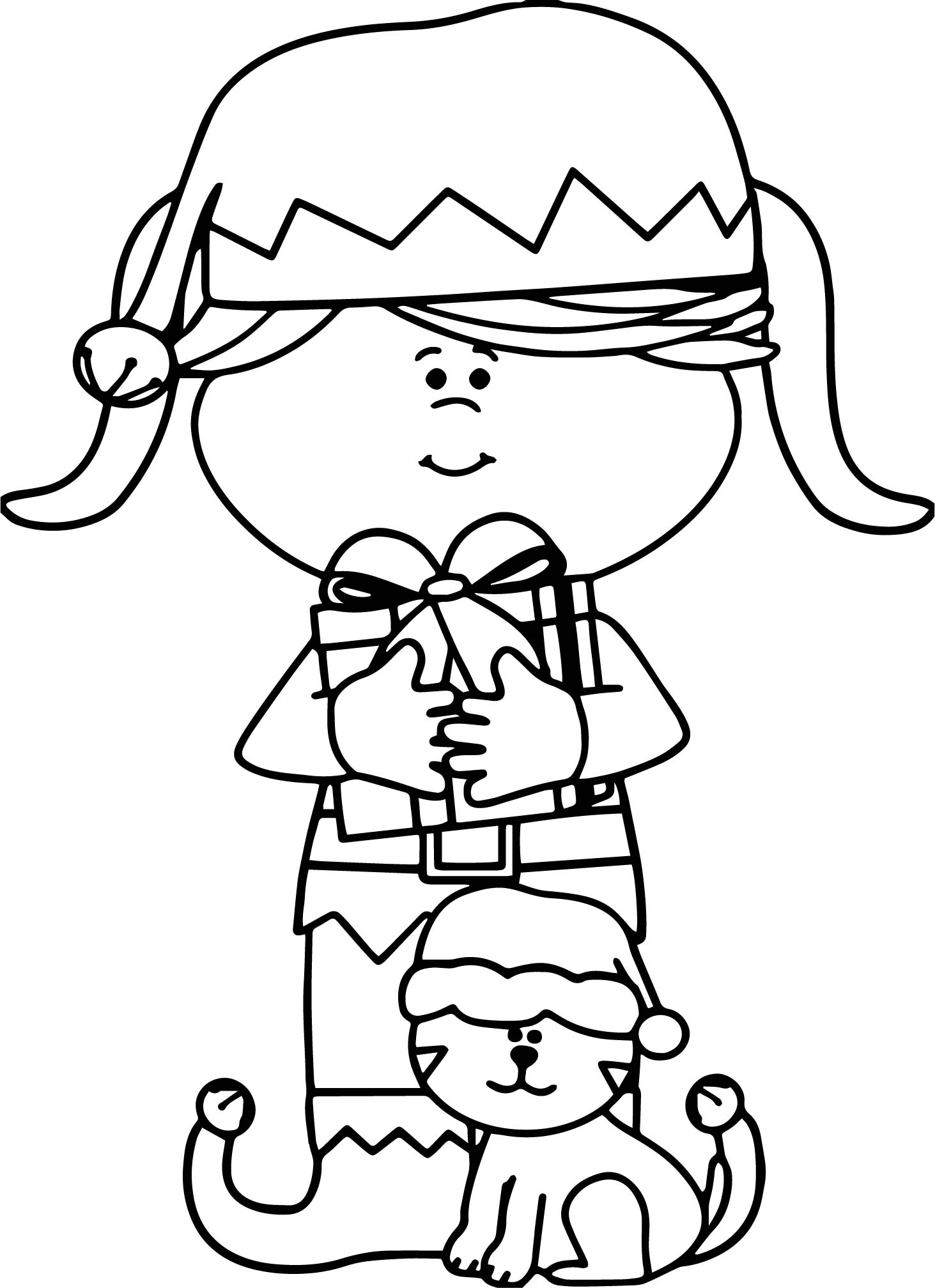 Chrismas Girl And Cat Coloring Page