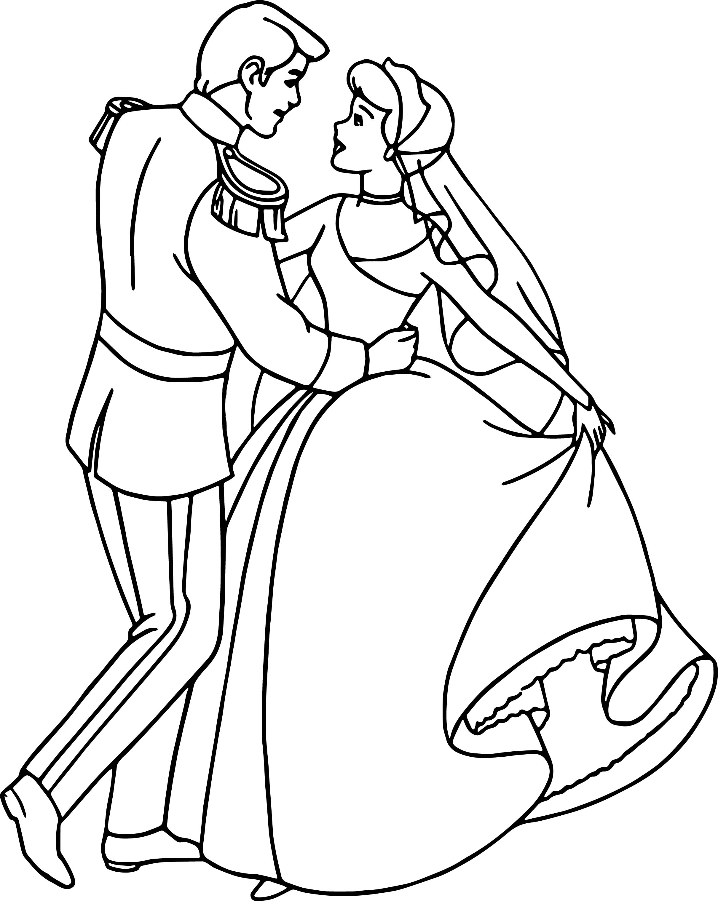 cinderella and prince charming dance coloring pages