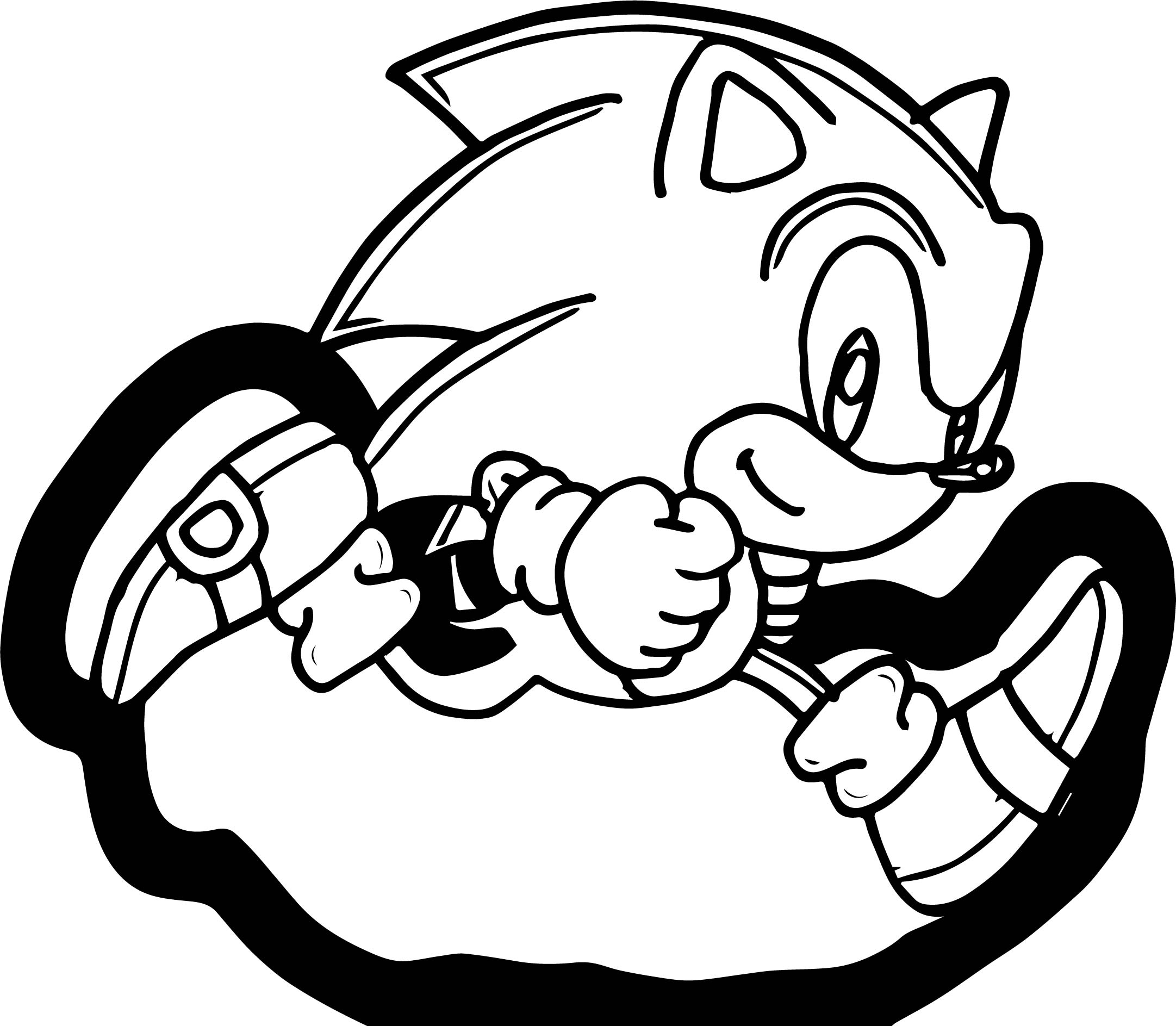 Classic small sonic running coloring page for Sonic color pages
