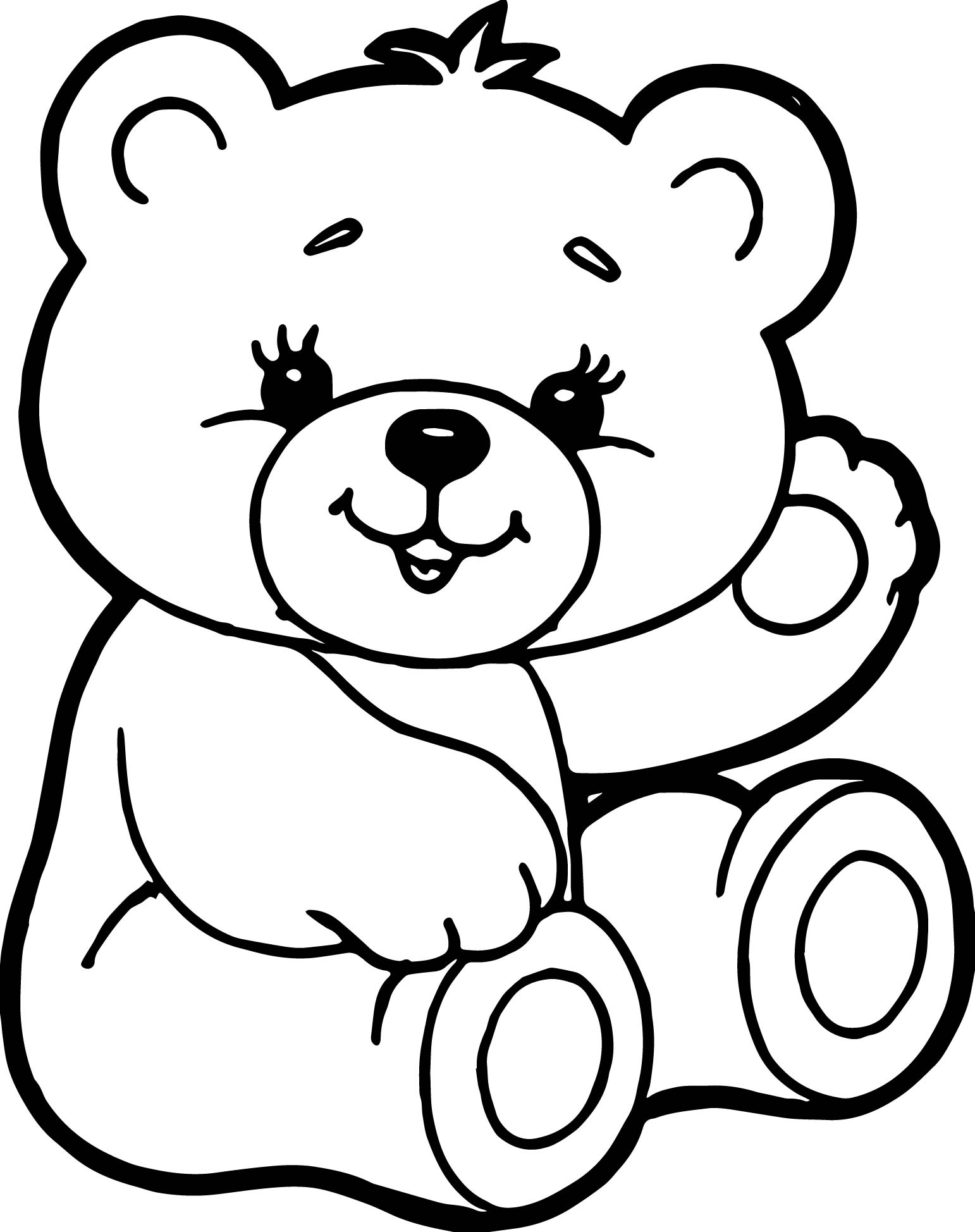 Cute Bear Coloring Page | Wecoloringpage