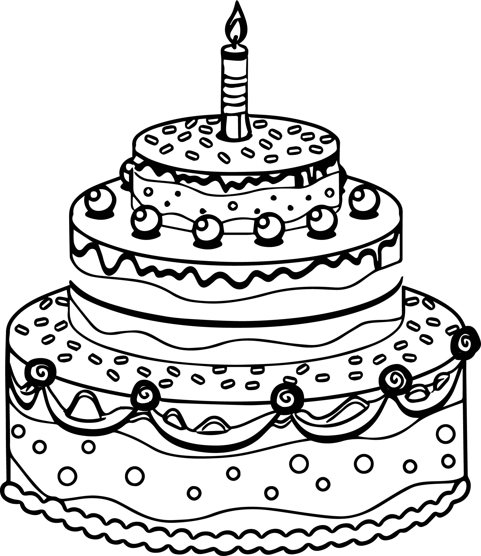 Coloring pages birthday cake - Cute Birthday Cake Coloring Page