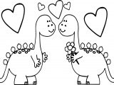 Dinosaurs In Love Valentines Day Coloring Page