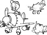Donald Duck Helicopter Coloring Page