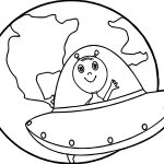 Earth Globe Alien Coloring Page