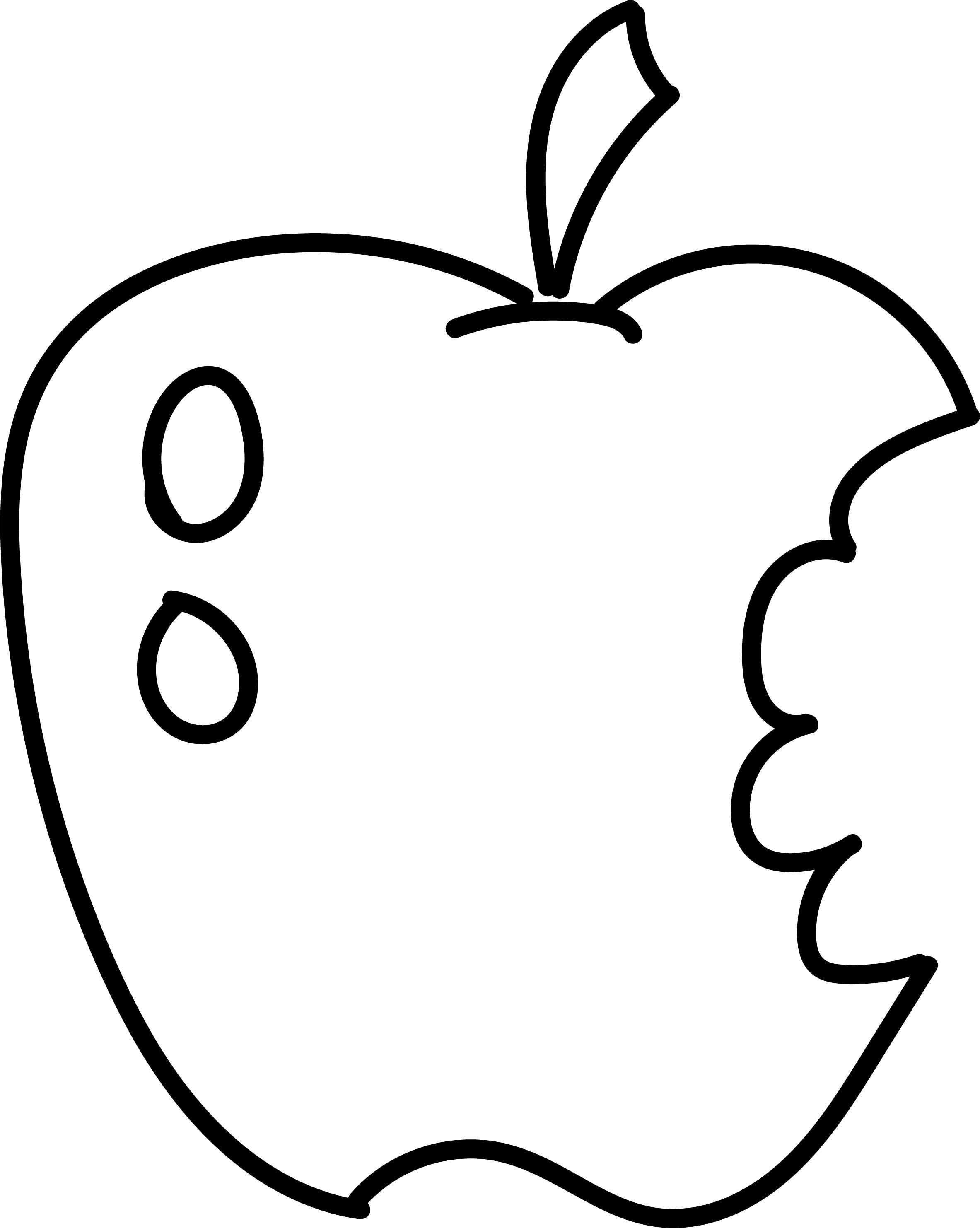 Eating apple coloring page for Apple coloring pages