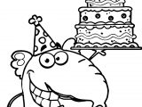 Elephant Birthday Cake Coloring Page