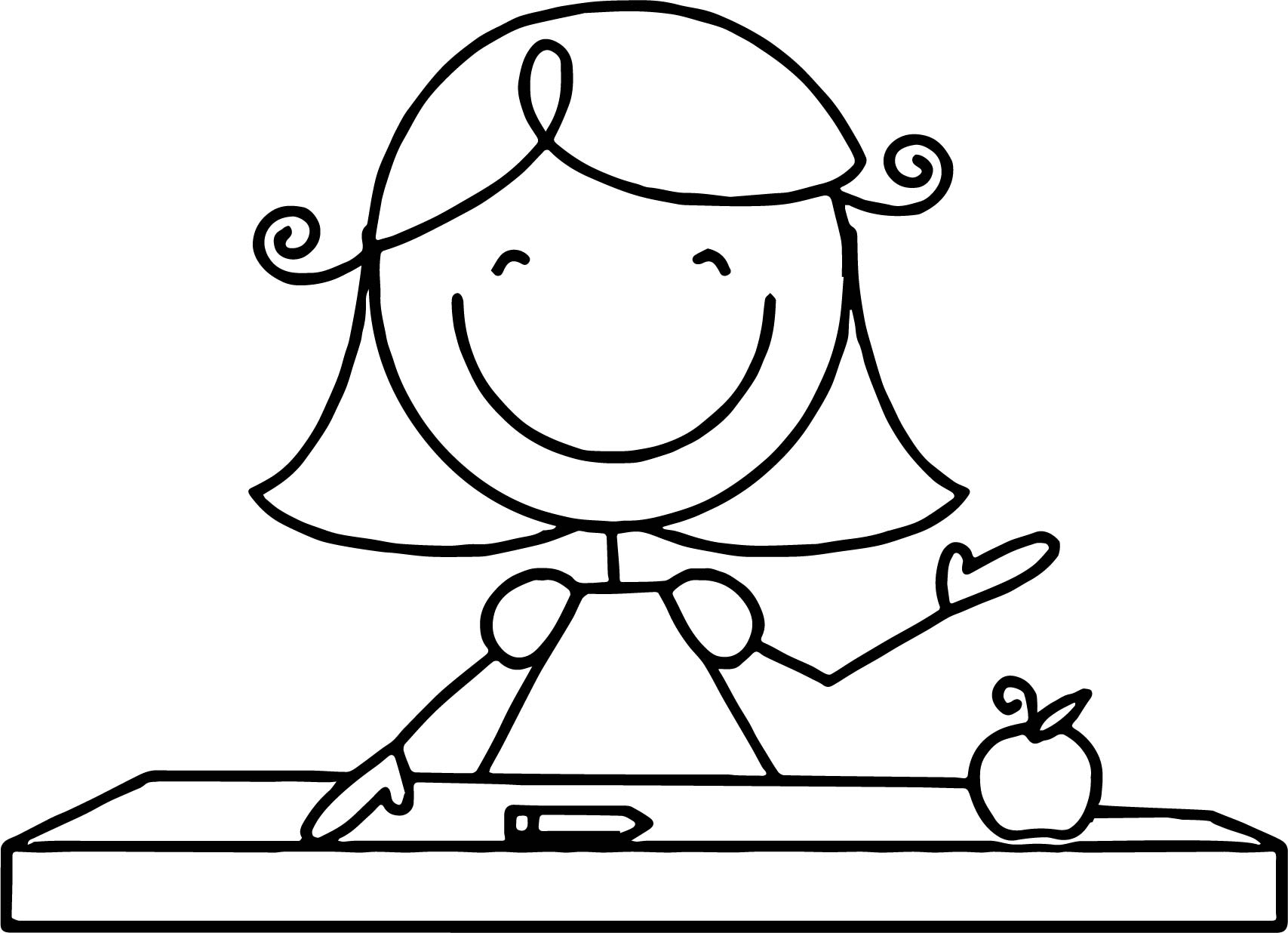English Teacher Girl Coloring Page