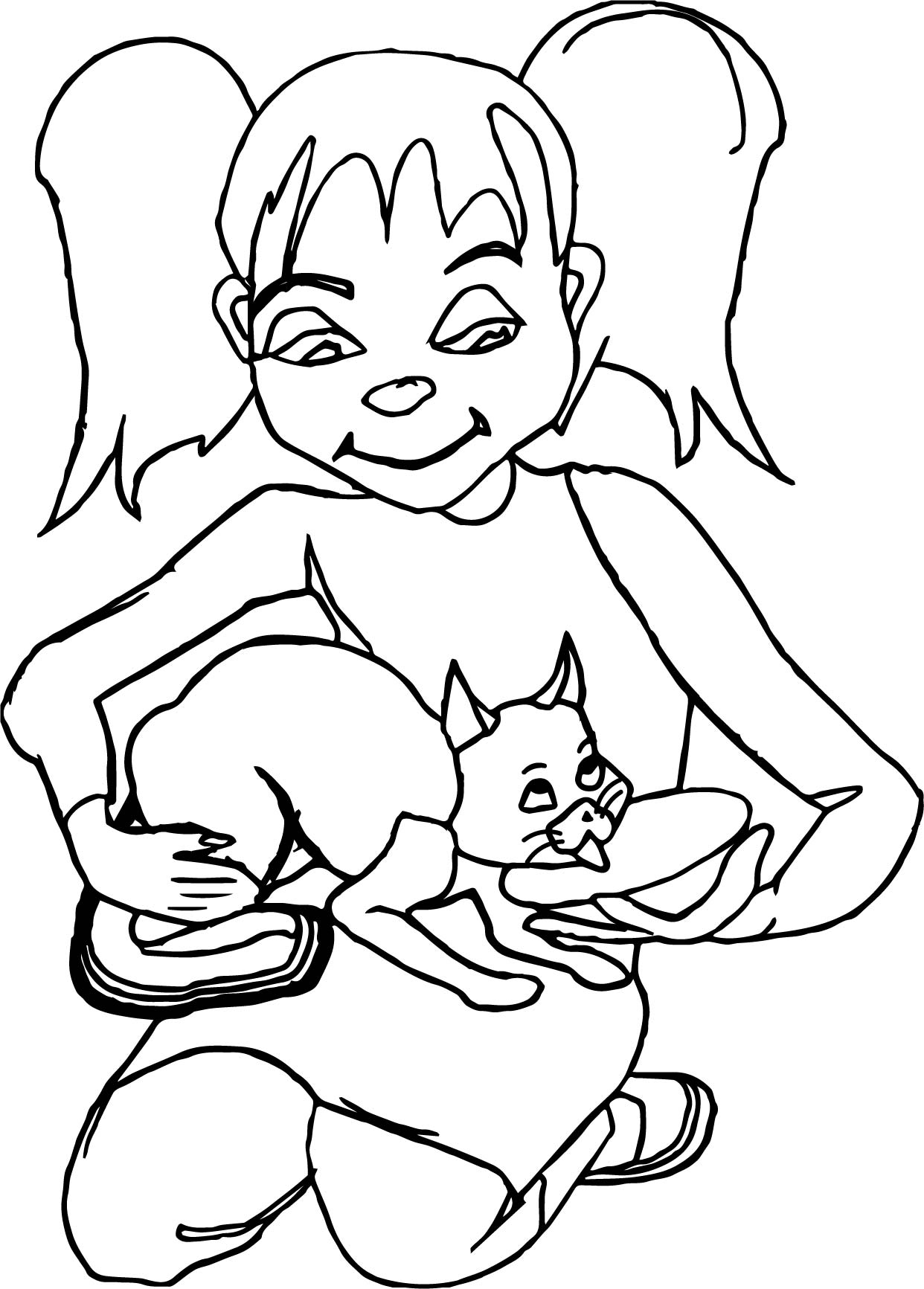 Girl And Kitten Coloring Page