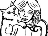 Girl Cat Hug Coloring Page