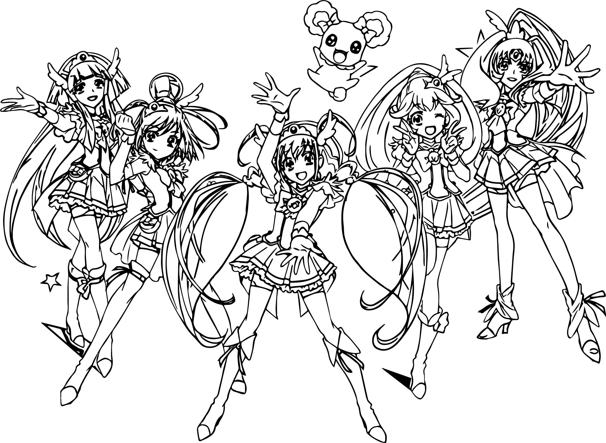 Glitter-Force-All-Group-Team-Coloring-Page