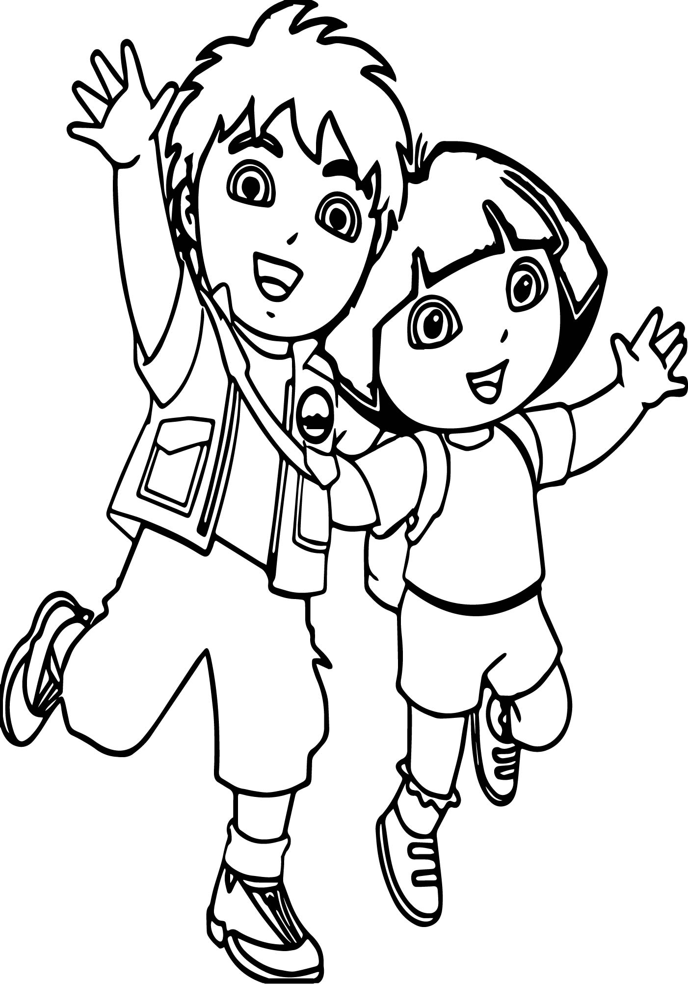 Go Diego Go And Girl Coloring Page
