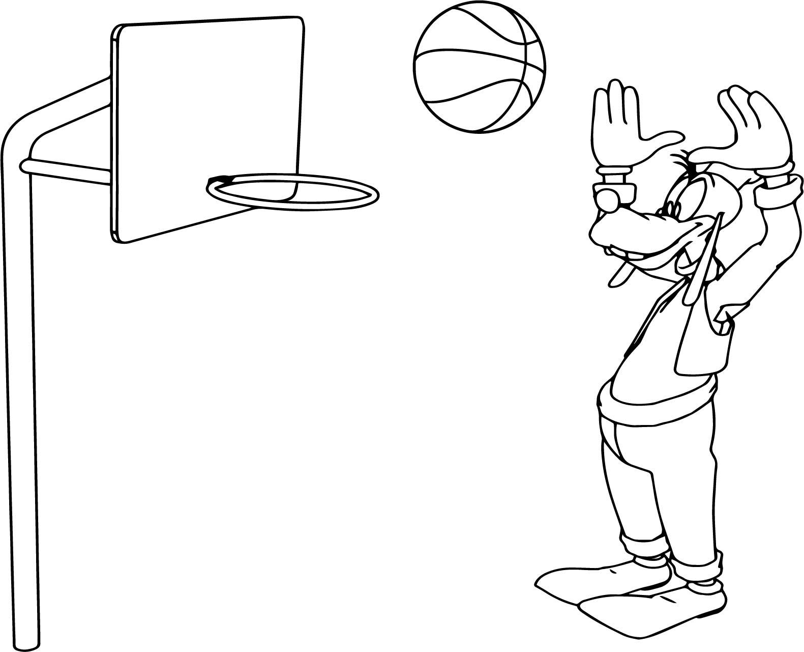 Goofy Basketball Shot Coloring Page