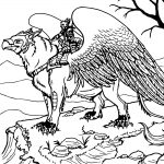 Griffon Rider Creature Coloring Page