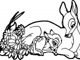 Happy Bambi Mother Child Coloring Page