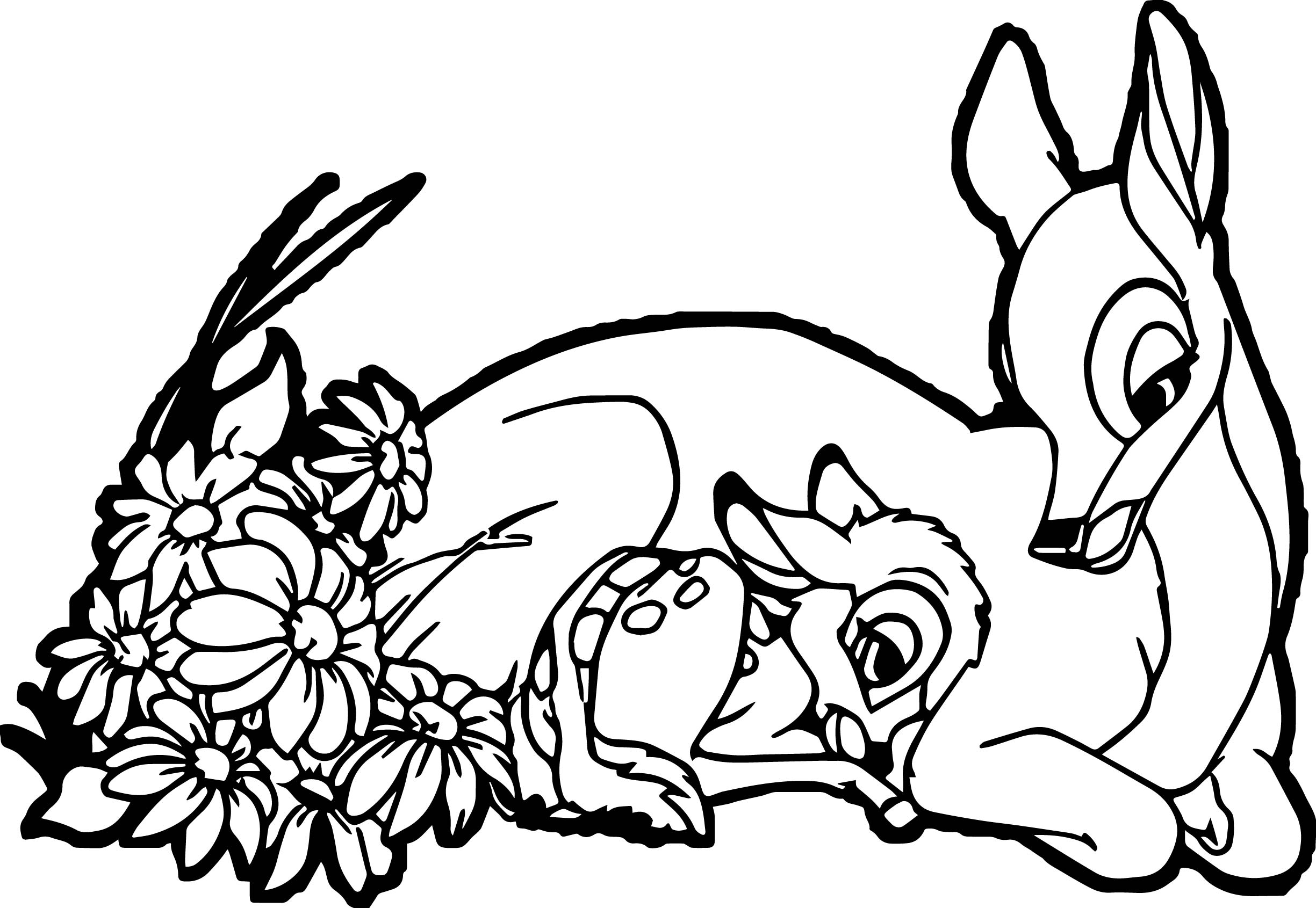 Happy bambi mother child coloring page for Mom coloring pages