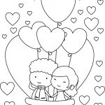 Happy Cute Valentine Young Couple Coloring Page