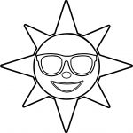 Happy Glasses Sun Star Coloring Page