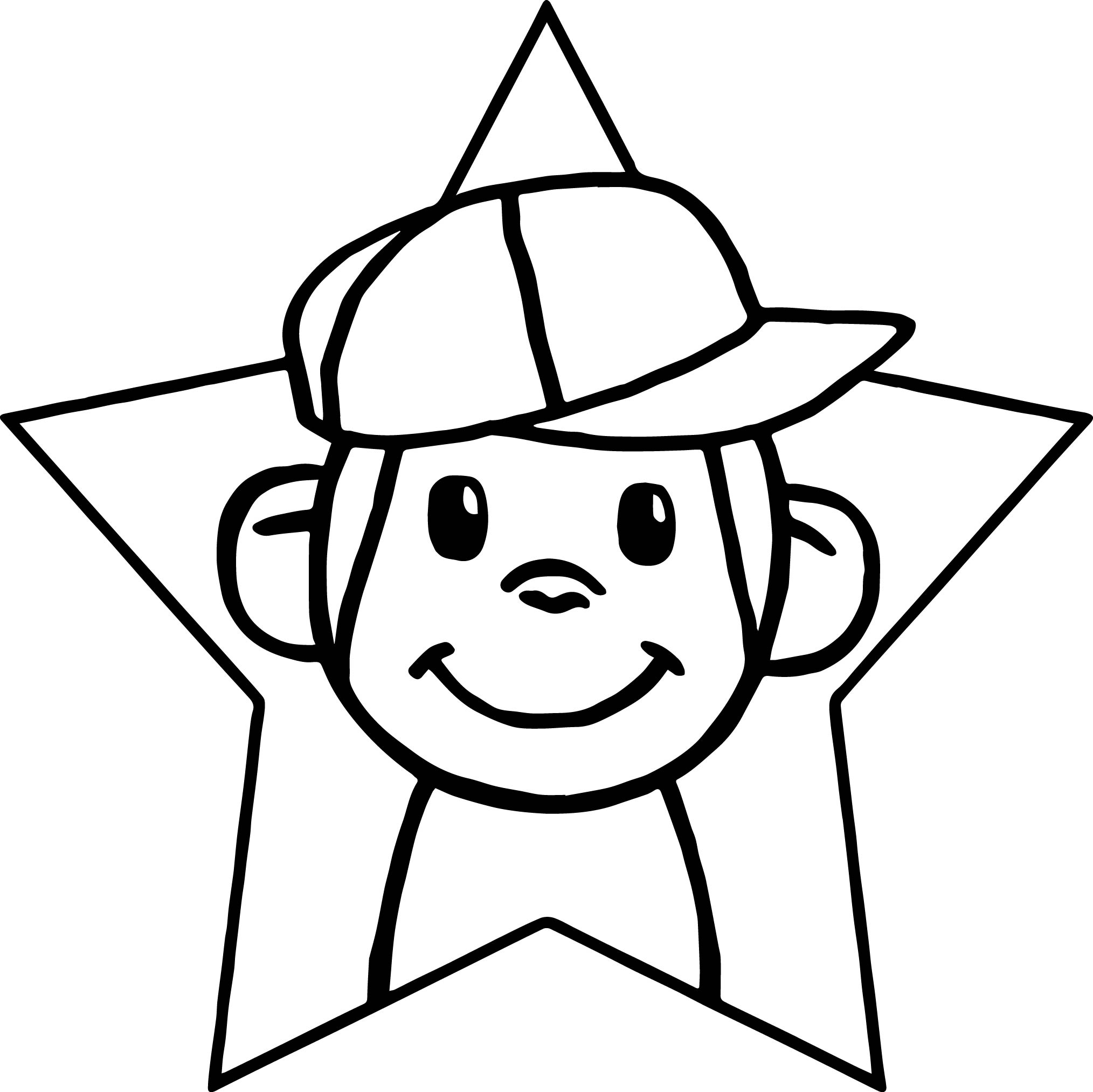 happy star monkey boy coloring page wecoloringpage