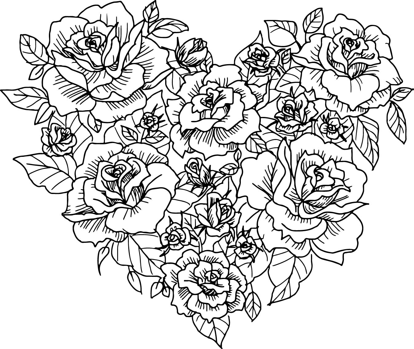 Heart rose sketch coloring page for Coloring pages roses
