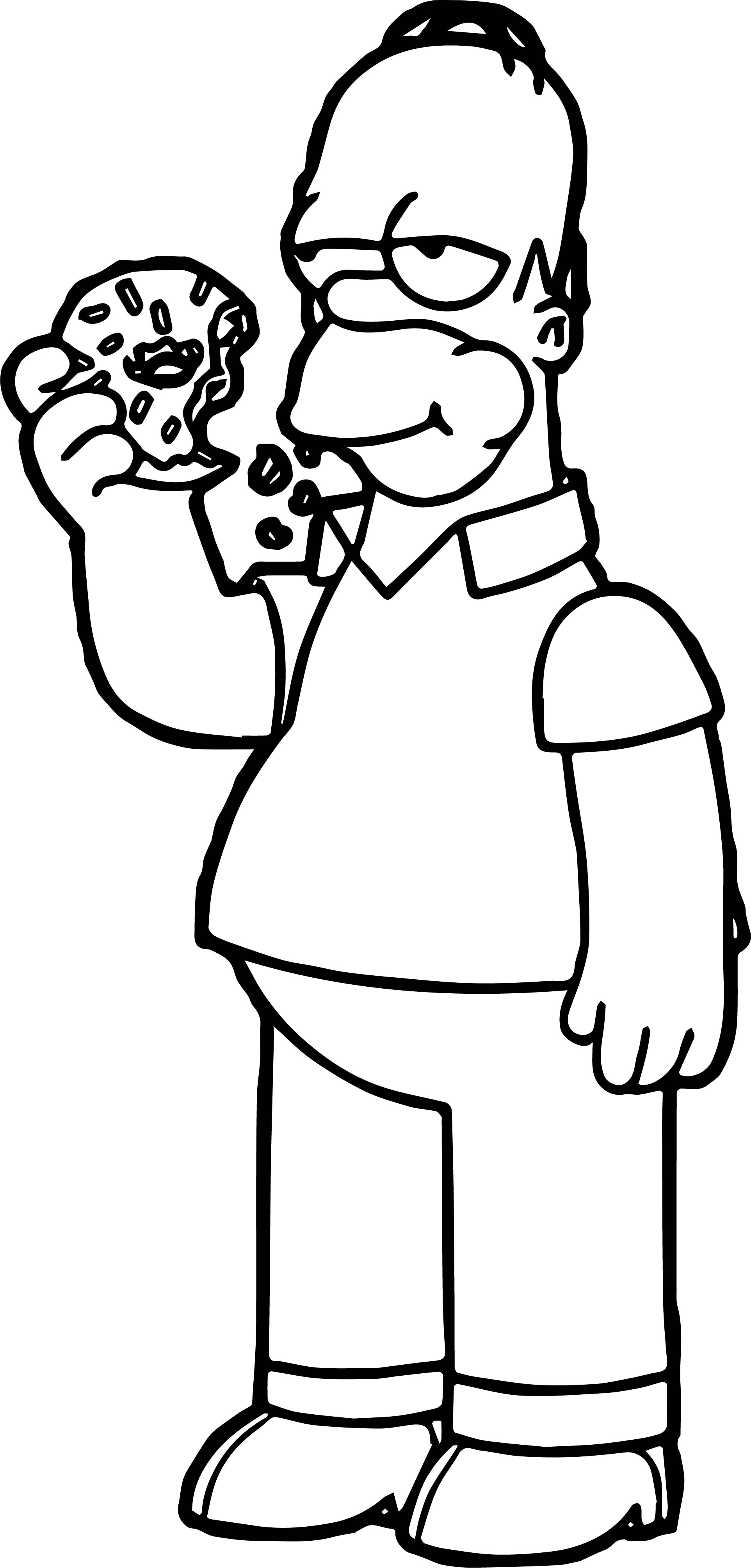 Homer Simpson Eating Donut Coloring Page