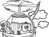 Kids Fly Helicopter Coloring Page