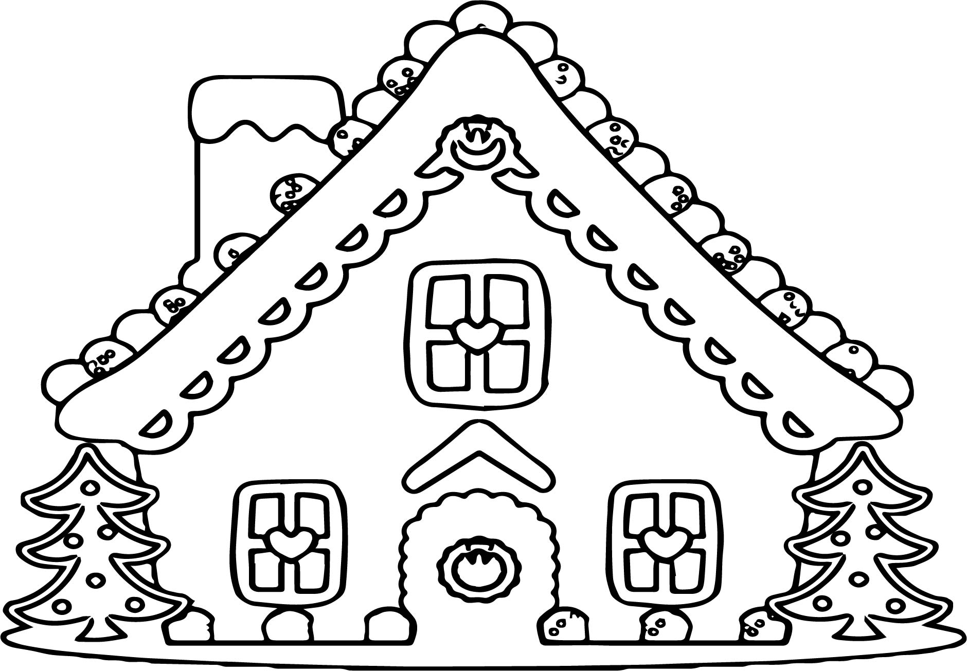 Large Gingerbread House Coloring Page Wecoloringpage